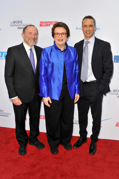 5th Annual Sports Humanitarian Awards Presented By ESPN [suit,carpet,event,formal wear,red carpet,white-collar worker,premiere,tuxedo,tie,gary bettman,jimmy pitaro,billie jean king,l-r,los angeles,california,the novo theater,l.a. live,espn,annual sports humanitarian awards]