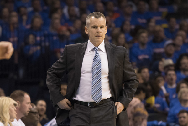 Houston Rockets v Oklahoma City Thunder - Game Three [audience,coach,crowd,sport venue,event,competition event,championship,team sport,billy donovan,user,user,game,note,oklahoma city,oklahoma city thunder,houston rockets,game action,quarterfinals]