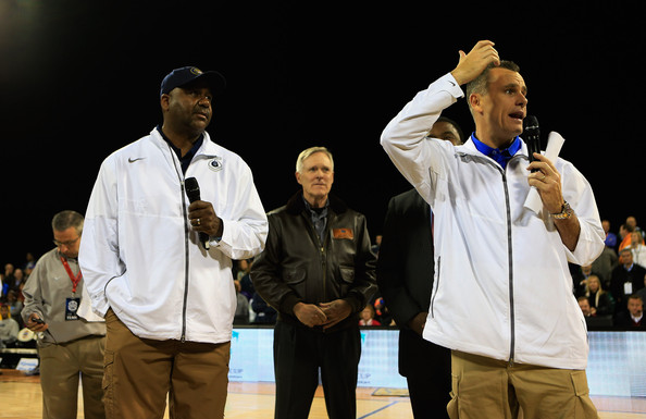 Navy-Marine Corps Classic - Georgetown v Florida [event,championship,coach,competition,competition event,john thompson iii,billy donovan,secretary,crowd,l-r,florida,georgetown,georgetown hoyas,navy-marine corps classic,game]