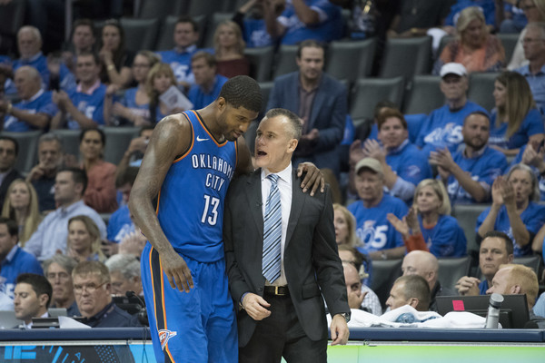 New York Knicks v Oklahoma City Thunder [sport venue,fan,sports,product,crowd,championship,arena,audience,player,team sport,paul george,user,billy donovan,talk,oklahoma city,oklahoma city thunder,new york knicks,team,game,half]