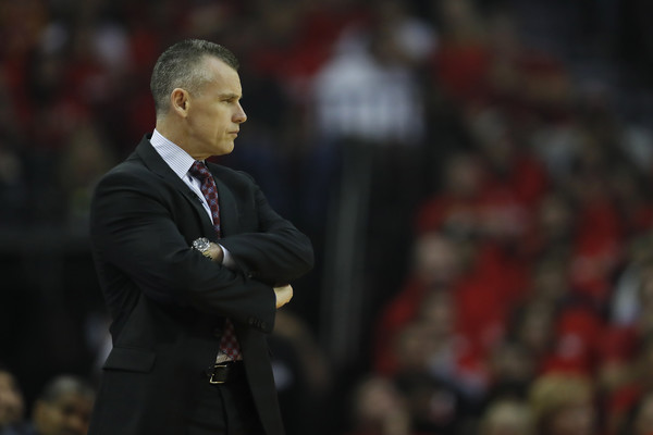 Oklahoma City Thunder v Houston Rockets - Game Two [game two,photograph,coach,suit,event,speech,official,championship,businessperson,manager,billy donovan,user,note,bench,half,oklahoma city thunder,houston rockets,quarterfinals game]