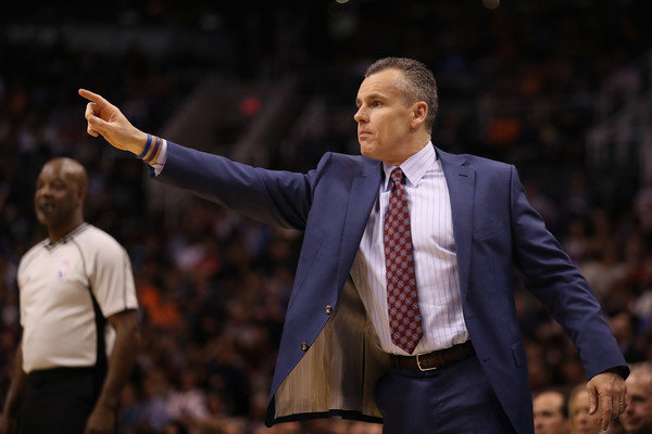 Oklahoma City Thunder v Phoenix Suns [photograph,performance,coach,suit,event,gesture,competition event,championship,official,billy donovan,user,note,phoenix,arizona,phoenix suns,oklahoma city thunder,half,game]