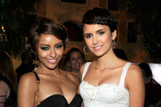 Kat Graham and Nina Dobrev attend the CW launch party presented by Bing at Warner Bros. Studios on September 10, 2011 in Burbank, California.