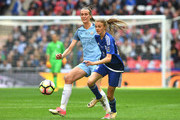 Jill Scott of Manchester City puts pressure on Ellie Brazil of Birmingham City Ladies during the SSE Women's FA Cup Final between Birmingham City Ladies and Manchester City Women at Wembley Stadium on May 13, 2017 in London, England.
