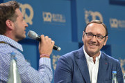Rolf Schroemgens and Kevin Spacey during the 'Bits & Pretzels Founders Festival' at ICM Munich on September 24, 2017 in Munich, Germany.