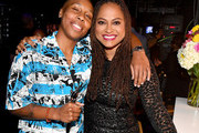 Lena Waithe and Ava DuVernay pose backstage during Black Girls Rock! 2018 at NJPAC on August 26, 2018 in Newark, New Jersey.