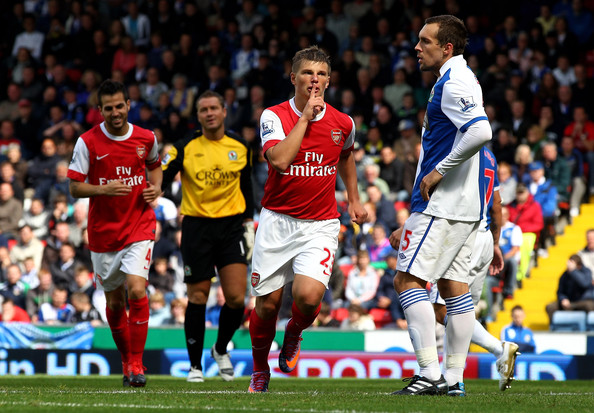 Andrey Arshavin of Arsenal celebrates scoring his team's second goal during the Barclays Premier League match between Blackburn Rovers and Arsenal at Ewood Park on August 28, 2010 in Blackburn, England.