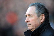 Aston Villa manager Gerard Houllier looks on during the Barclays Premier League match between Blackpool and Aston Villa at Bloomfield Road on February 12, 2011 in Blackpool, England.