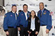 (L-R) Astronaut Ken Ham, astronaut Michael Lopez-Alegria, Esther Dyson, and astronaut Mike Massimino attend Blast Off: The Future of Spaceflight at The Explorers Club on May 1, 2014 in New York City.
