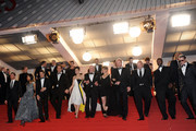 (L-R) Billy Crudup, Zoe Saldana, Guillaume Canet, Clive Owen, Marion Cotillard, James Caan, Lily Taylor, Noah Emmerich, Domenick Lombardozzi, Jamie Hector, and Mark Mahoney attend the 'Blood Ties' Premiere during the 66th Annual Cannes Film Festival at the Palais des Festivals on May 20, 2013 in Cannes, France.