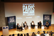 """(L-R) Joshua Jackson, LA Chief Sustainability Officer Lauren Faber O'Connor, Zero Hour Co-Founder Jamie Margolin, David Andrade and Producer Lindsay Firestone speak onstage during Bloomberg Philanthropies & RadicalMedia Host The Los Angeles Premiere Of """"Paris To Pittsburgh"""" at Museum Of Contemporary Art on December 03, 2018 in Los Angeles, California."""