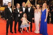 """(Left to Right) Producer Alex Orlovsky,director Derek Cianfrance,producer Jamie Patricof,actress Faith Wladyka, actor Ryan Gosling, actress Michelle Williams,producer Lynette Howell attends the """"Blue Valentine"""" Premiere at the Palais des Festivals during the 63rd Annual Cannes Film Festival on May 18, 2010 in Cannes, France."""
