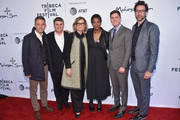 "(L-R) Executive Producer Justin Wilkes, Executive Producer Adam Del Deo, Executive Producer Laura Michalchyshyn, Director Dawn Porter, Executive Producer at Netflix Ben Cotner and Executive Producer Dave Sirulnick attend ""Bobby Kennedy For President"" Red Carpet Premiere during 2018 Tribeca Film Festival at SVA Theater on April 25, 2018 in New York City."