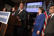 Speaker of the House John Boehner (R-OH) (C) answers reporters' questions during a news conference with (L-R) Rep. Martha Roby (R-AL), Rep. Peter Roskam (R-IL), Rep. Cathy McMorris Rodgers (R-WA) and Majority Leader Eric Cantor (R-VA) at the Republican Party Headquarters on Capitol Hill February 13, 2013 in Washington, DC. The House Republican leaders squarly layed blame for the pending fiscal sequestration on President Barack Obama and said it was his and Senate Democrats who must avert the manditory spending cuts that will go into affect March 1.