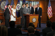 U.S. House Majority Leader Rep. Eric Cantor (R-VA) (3rd R) speaks as (L-R) Rep. Jeb Hensarling (R-TX), Rep. Renee Ellmers (R-NC), Rep. Peter Roskam (R-IL), House Majority Whip Kevin McCarthy (R-CA), and Speaker of the House Rep. John Boehner (R-OH) listen during a news conference July 28, 2011 on Capitol Hilll in Washington, DC. The House is set to vote today on Boehner?s debt-limit plan which will likely face opposition at the Senate and veto threat from the White House.