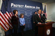 U.S. Speaker of the House Rep. John Boehner (R-OH) (4th L) speaks as House Majority Leader Rep. Eric Cantor (R-VA) (3rd L), House Majority Whip Rep. Kevin McCarthy (R-CA) (R), House Republican Conference Chairman Rep. Cathy McMorris Rodgers (R-WA) (L) and House Republican Conference Vice Chairman Rep. Lynn Jenkins (R-KS) (2nd L) listen during a media availability after a House Republican Conference meeting December 18, 2012 on Capitol Hill in Washington, DC. Speaker Boehner announced that he is moving to a Plan B to solve the fiscal cliff issue and he will put a bill on the floor that increases taxes for people whose incomes are more than one million dollars.