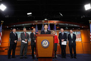 House Financial Services Committee Chairman Spencer Bachus (R-AL) (C) speaks during a news conference to discuss a Fannie Mae and Freddie Mac reform plan with (L-R) U.S. Rep. David Schweikert (R-AZ), U.S. Rep. Steve Pearce (R-NM), U.S. Rep. Scott Garrett (R-NJ), U.S. Rep. Judy Biggert (R-IL), U.S. Rep. Randy Neugebauer (R-TX) and U.S. Rep. Jeb Hensarling (R-TX) at the U.S. Capitol March 29, 2011 in Washington, DC. With the threat of an government shutdown looming if a budget deal isn't passed by April 8, Speaker John Boehner (R-OH) and the House GOP leaders blamed Senate Democrats for the failure to pass a long-term bill to cut spending and keep the federal government running.