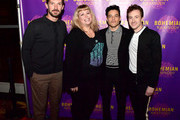 Gwilym Lee, Angie C from WZLX, Rami Malek and Joseph Mazzello attend the Boston red carpet screening of 'Bohemian Rhapsody,' the film about the rock band Queen and its lead singer Freddie Mercury, at AMC Boston Common on October 1, 2018 in Boston, Massachusetts.