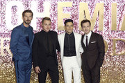 Gwilym Lee, Ben Hardy, Rami Malek and Joe Mazzello attend the World Premiere of 'Bohemian Rhapsody' at The SSE Arena, Wembley on October 23, 2018 in London, England.