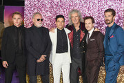 (L-R) Ben Hardy, Roger Taylor, Rami Malek, Brian May, Joe Mazzello and Gwilym Lee attend the World Premiere of 'Bohemian Rhapsody' at SSE Arena Wembley on October 23, 2018 in London, England.