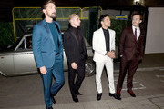 (L-R) Gwilym Lee, Ben Hardy, Rami Malek and Joe Mazzello attend the World Premiere of 'Bohemian Rhapsody' at SSE Arena Wembley on October 23, 2018 in London, England.