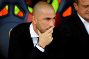 Marco Di Vaio team manager of Bologna FC looks on prior the beginning of the Serie A match between Bologna FC and Frosinone Calcio at Stadio Renato Dall'Ara on September 20, 2015 in Bologna, Italy.
