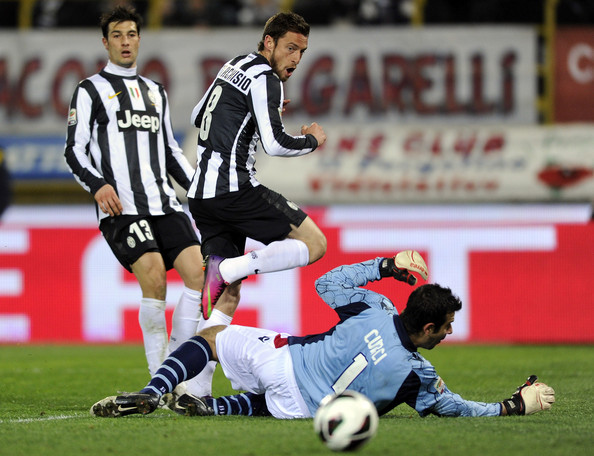 Claudio Marchisio of Juventus FC scores the second goal during the Serie A match between Bologna FC and Juventus FC at Stadio Renato Dall'Ara on March 16, 2013 in Bologna, Italy.