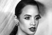 "image has been converted to black and white)  Dascha Polanco attends ""Bombshell"" New York screening at Jazz at Lincoln Center on December 16, 2019 in New York City."