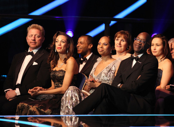 Awards Show-2012 Laureus World Sports Awards [event,performance,audience,fun,boris becker,edwin moses,audience,michelle moses,sharlely becker,l-r,central hall westminster,academy,laureus world sports awards,awards show]