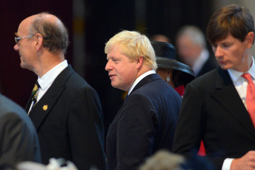Boris Johnson The Prince of Wales & The Duchess of Cornwall Attend a National Service to Mark The 200th Anniversary Of The Battle Of Waterloo
