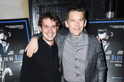 "Ellar Coltrane, Ethan Hawke attend the ""Born To Be Blue"" New York Screening at Blue Note Jazz Club on March 24, 2016 in New York City."