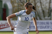 Jill Scott of England in action during the UEFA Women's European Championship Qualifier match between Bosnia and Herzegovina and England at FF BIH Football Training Centre on April 12, 2016 in Zenica, Bosnia and Herzegovina.