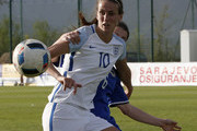 Jill Scott (L) of England in action against Marija Aleksic (R) of Bosnia during the UEFA Women's European Championship Qualifier match between Bosnia and Herzegovina and England at FF BIH Football Training Centre on April 12, 2016 in Zenica, Bosnia and Herzegovina.