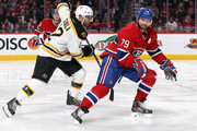 Andrei Markov #79 of the Montreal Canadiens skates against Jarome Iginla #12 of the Boston Bruins in Game Three of the Second Round of the 2014 NHL Stanley Cup Playoffs at the Bell Centre on May 6, 2014 in Montreal, Quebec, Canada.