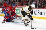 Jarome Iginla #12 of the Boston Bruins controls a rebound against Andrei Markov #79 and Carey Price #31 of the Montreal Canadiens in Game Three of the Second Round of the 2014 NHL Stanley Cup Playoffs at the Bell Centre on May 6, 2014 in Montreal, Quebec, Canada.