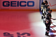 The Pittsburgh Penguins line up for the national anthem prior to Game One of the Eastern Conference Final of the 2013 NHL Stanley Cup Playoffs against the Boston Bruins at the Consol Energy Center on June 1, 2013 in Pittsburgh, Pennsylvania.