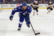 Ryan Callahan #24 of the Tampa Bay Lightning brings the puck up against the Boston Bruins during the third period of the game at the Amalie Arena on April 3, 2018 in Tampa, Florida. (Photo by Mike Carlson/Getty Images) *** Local Caption *** Ryan Callahan