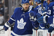Tomas Plekanec #19 of the Toronto Maple Leafs celebrates a goal against the Boston Bruins in Game Four of the Eastern Conference First Round in the 2018 Stanley Cup play-offs at the Air Canada Centre on April 19, 2018 in Toronto, Ontario, Canada.
