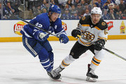 Sean Kuraly #52 of the Boston Bruins skates against Tyler Bozak #42 of the Toronto Maple Leafs in Game Four of the Eastern Conference First Round in the 2018 Stanley Cup play-offs at the Air Canada Centre on April 19, 2018 in Toronto, Ontario, Canada. The Bruins defeated the Maple Leafs 3-1. (Photo by Claus Andersen/Getty Images) *** Local Caption *** Sean Kuraly; Tyler Bozak