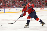 Alex Ovechkin #8 of the Washington Capitals scores a goal against the Boston Bruins during second period at Capital One Arena on October 3, 2018 in Washington, DC.