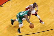 Mickael Pietrus #28 of the Boston Celtics attempts to steal the ball in the first half against Dwyane Wade #3 of the Miami Heat in Game Five of the Eastern Conference Finals in the 2012 NBA Playoffs on June 5, 2012 at American Airlines Arena in Miami, Florida. NOTE TO USER: User expressly acknowledges and agrees that, by downloading and or using this photograph, User is consenting to the terms and conditions of the Getty Images License Agreement.