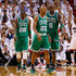 Ray Allen Mickael Pietrus Photos - (L-R) Mickael Pietrus #28, Ray Allen #20 and Kevin Garnett #5 of the Boston Celtics walk up court against the Miami Heat in Game Five of the Eastern Conference Finals in the 2012 NBA Playoffs on June 5, 2012 at American Airlines Arena in Miami, Florida. NOTE TO USER: User expressly acknowledges and agrees that, by downloading and or using this photograph, User is consenting to the terms and conditions of the Getty Images License Agreement. - Boston Celtics v Miami Heat - Game Five
