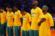 Kevin Garnett #5 of the Boston Celtics and the rest of his teammates bow their heads during the national anthem before Game One of the Eastern Conference Quarterfinals of the 2013 NBA Playoffs against the New York Knicks on April 20, 2013 at Madison Square Garden in New York City. NOTE TO USER: User expressly acknowledges and agrees that, by downloading and/or using this photograph, user is consenting to the terms and conditions of the Getty Images License Agreement.