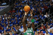Mickael Pietrus #28 of the Boston Celtics shoots and makes a three point shot to end the first half against the Philadelphia 76ers in Game Six of the Eastern Conference Semifinals in the 2012 NBA Playoffs at the Wells Fargo Center on May 23, 2012 in Philadelphia, Pennsylvania. NOTE TO USER: User expressly acknowledges and agrees that, by downloading and or using this photograph, User is consenting to the terms and conditions of the Getty Images License Agreement.