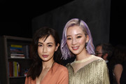 Kyoko Hasegawa and Irene Kim attend the Bottega Veneta Fall/Winter 2018 fashion show at New York Stock Exchange on February 9, 2018 in New York City.