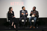 """Director Chiwetel Ejiofor,  host Angelina Jolie and book author William Kamkwamba attend """"The Boy Who Harnessed The Wind"""" Special Screening at Crosby Street Hotel on February 25, 2019 in New York City."""