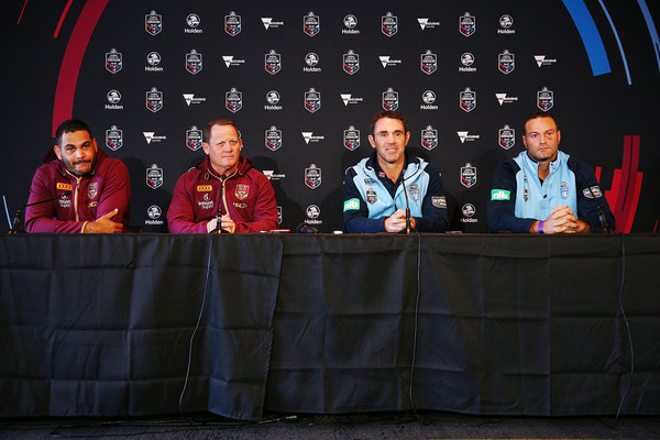 State Of Origin Media Opportunity [event,team,technology,news conference,stage equipment,photography,electronic device,stage,greg inglis,kevin walters,brad fittler,boyd cordner,origin media opportunity,media,state,melbourne cricket ground,queensland maroons,new south wales blues]