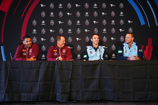 State Of Origin Media Opportunity [event,news conference,photography,technology,stage,stage equipment,team,performance,talent show,convention,greg inglis,kevin walters,brad fittler,boyd cordner,origin media opportunity,media,state,melbourne cricket ground,queensland maroons,new south wales blues]