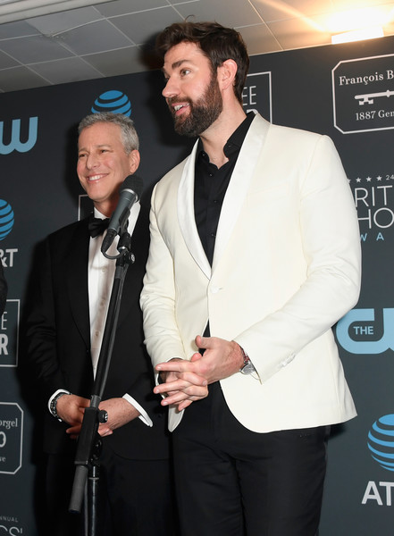 The 24th Annual Critics' Choice Awards - Press Room [suit,formal wear,event,fashion,premiere,tuxedo,outerwear,facial hair,white-collar worker,blazer,winners,brad fuller,john krasinski,best sci-fi/horror movie for a quiet place,room,barker hangar,press room,santa monica,l,critics choice awards]