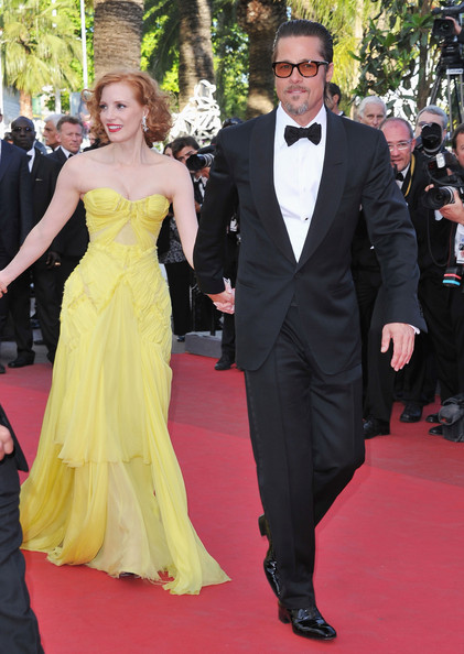 "Brad Pitt Actors Jessica Chastain and Brad Pitt (L) attend ""The Tree Of Life"" premiere during the 64th Annual Cannes Film Festival at Palais des Festivals on May 16, 2011 in Cannes, France."